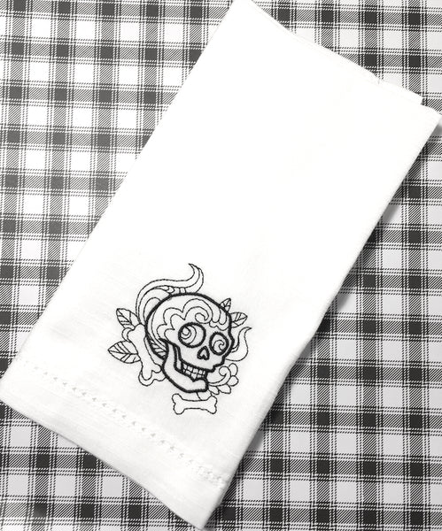 Skull Halloween Cloth Napkins - White Tulip Embroidery
