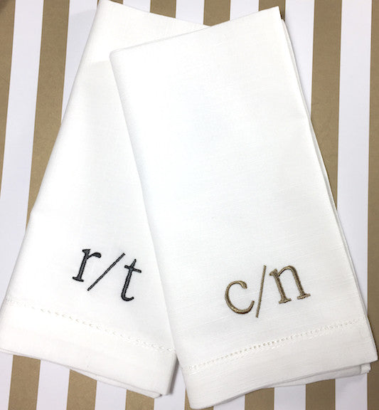 slash double initial monogrammed cloth napkins - set of 4 napkins
