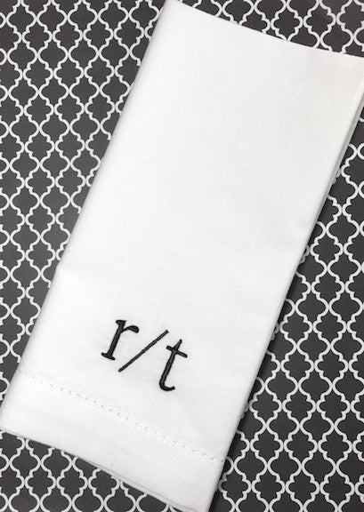 Two Letter Script Monogrammed Cloth Napkins, double letter monogrammed napkins, two letter napkins, double initial napkins