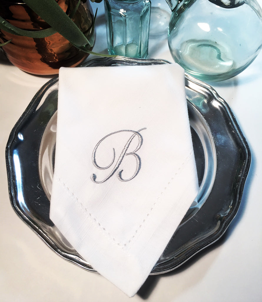Sophia Monogrammed Embroidered Cloth Napkins-White Tulip Embroidery