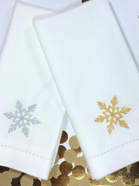 Snowflake Cloth Napkins - Set of 4 napkins
