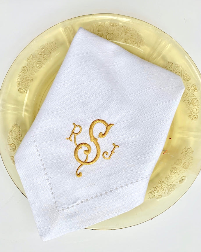 Southern Monogrammed Embroidered Cloth Napkins-White Tulip Embroidery