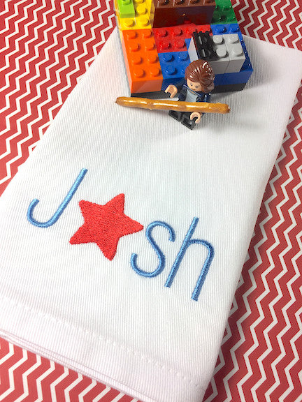 Star Personalized Child's Lunchbox Napkins - White Tulip Embroidery