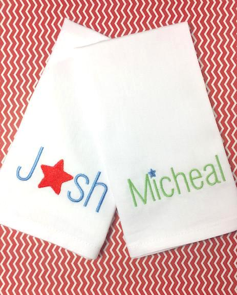 Star Personalized Child's Lunchbox Napkins-White Tulip Embroidery