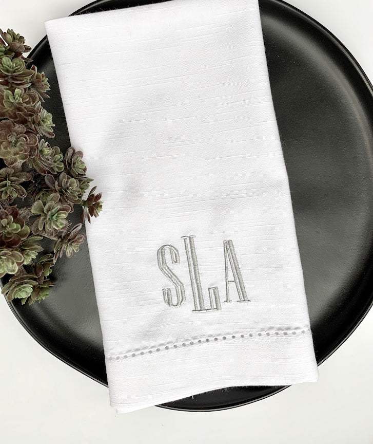 Stella Monogrammed Cloth Napkins - White Tulip Embroidery