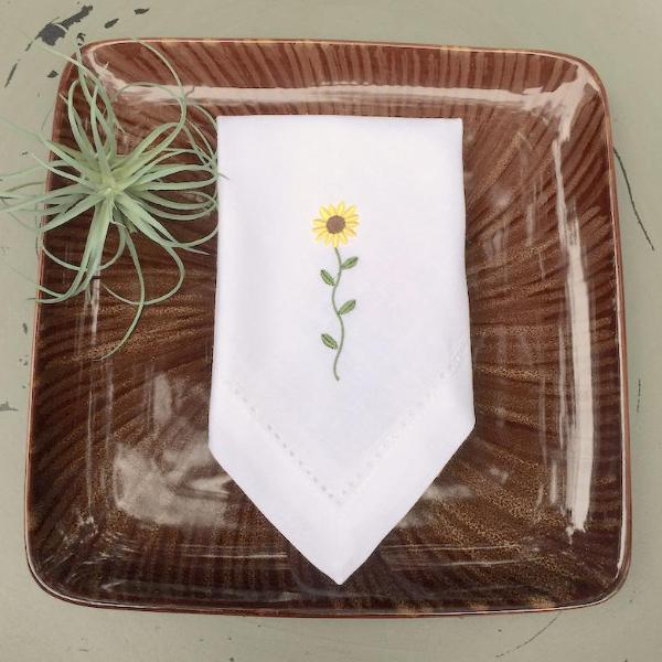 Sunflower Embroidered Cloth Napkins - Set of 4 napkins - White Tulip Embroidery