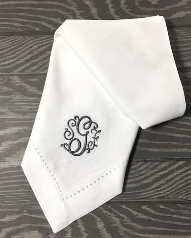 Florence Monogrammed Cloth Dinner Napkins - Set of 4 napkins - White Tulip Embroidery