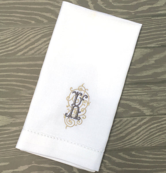 Iron Scroll Monogrammed Embroidered Cloth Napkins - Set of 4 napkins - White Tulip Embroidery