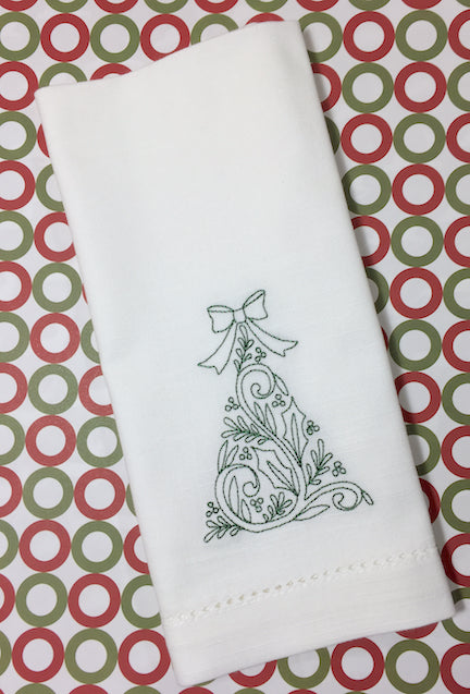 Elegant Christmas Tree Embroidered Cloth Napkins - Set of 4 napkins-White Tulip Embroidery