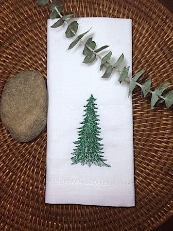 Evergreen Christmas Tree Embroidered Cloth Napkins - Set of 4 napkins - White Tulip Embroidery
