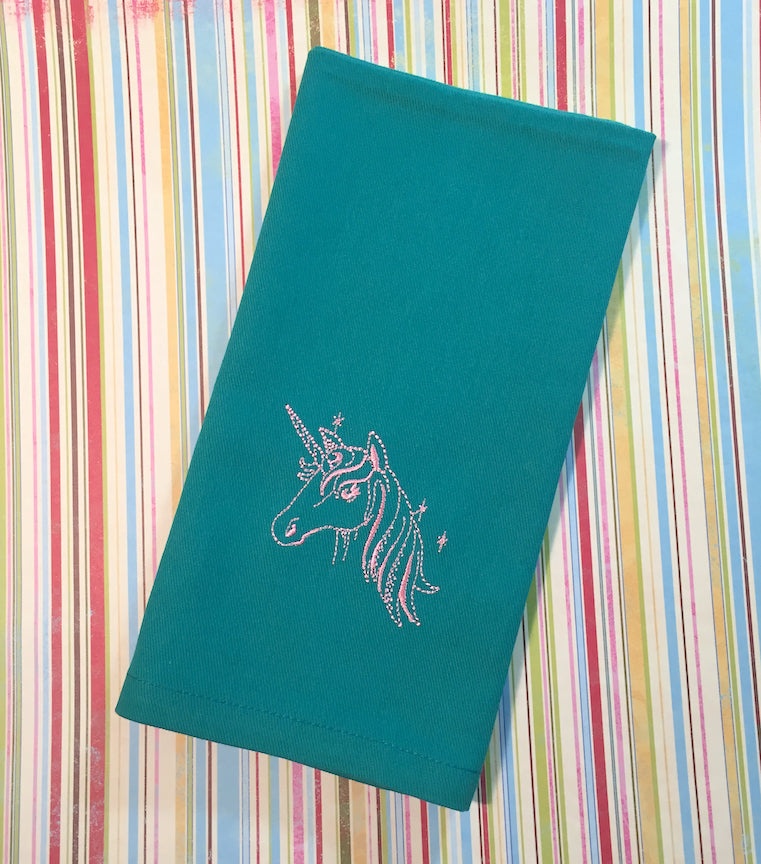 Unicorn Children's Lunch Cloth Napkins - White Tulip Embroidery