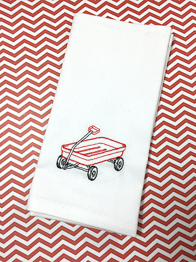 Wagon Child's Lunchbox Napkins - White Tulip Embroidery