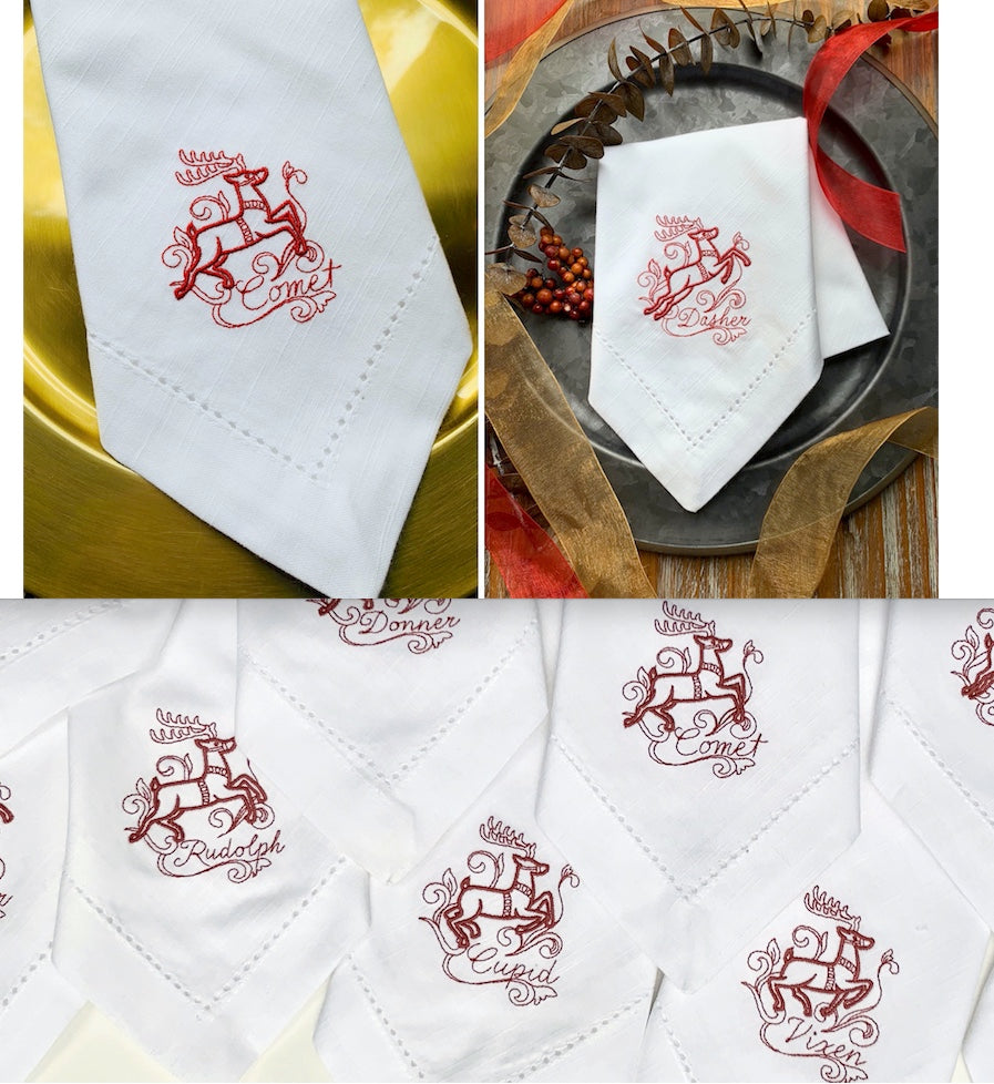 Santa and Reindeer Christmas Cloth Napkins - Set of 10 unique napkins-White Tulip Embroidery