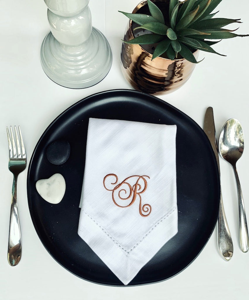 Wendy Monogrammed Cloth Dinner Napkins - Set of 4 napkins - White Tulip Embroidery