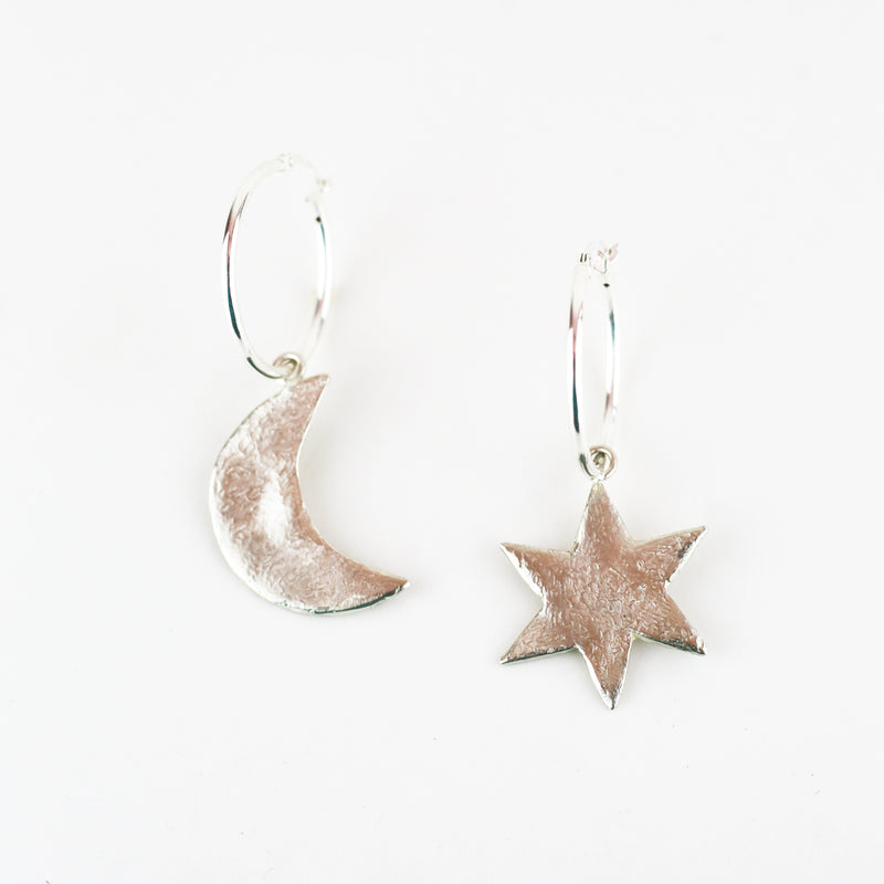 SILVER MOONBEAM HOOPS