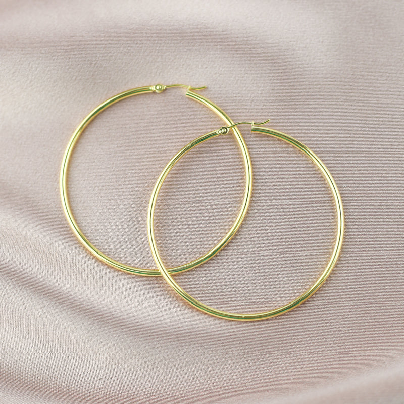 LARGE POLISHED GOLD HOOPS