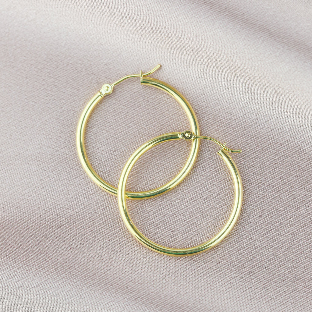14K POLISHED YELLOW GOLD HOOPS