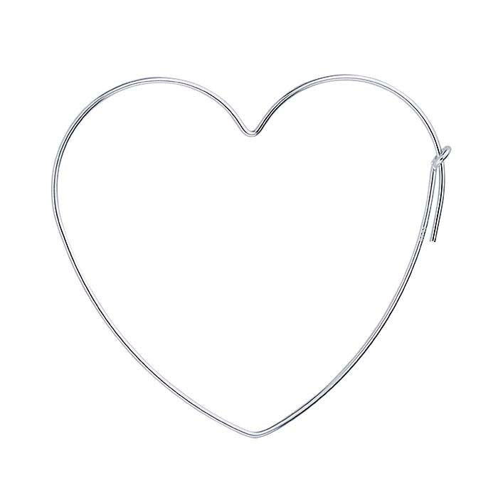 LARGE SILVER HEART HOOPS