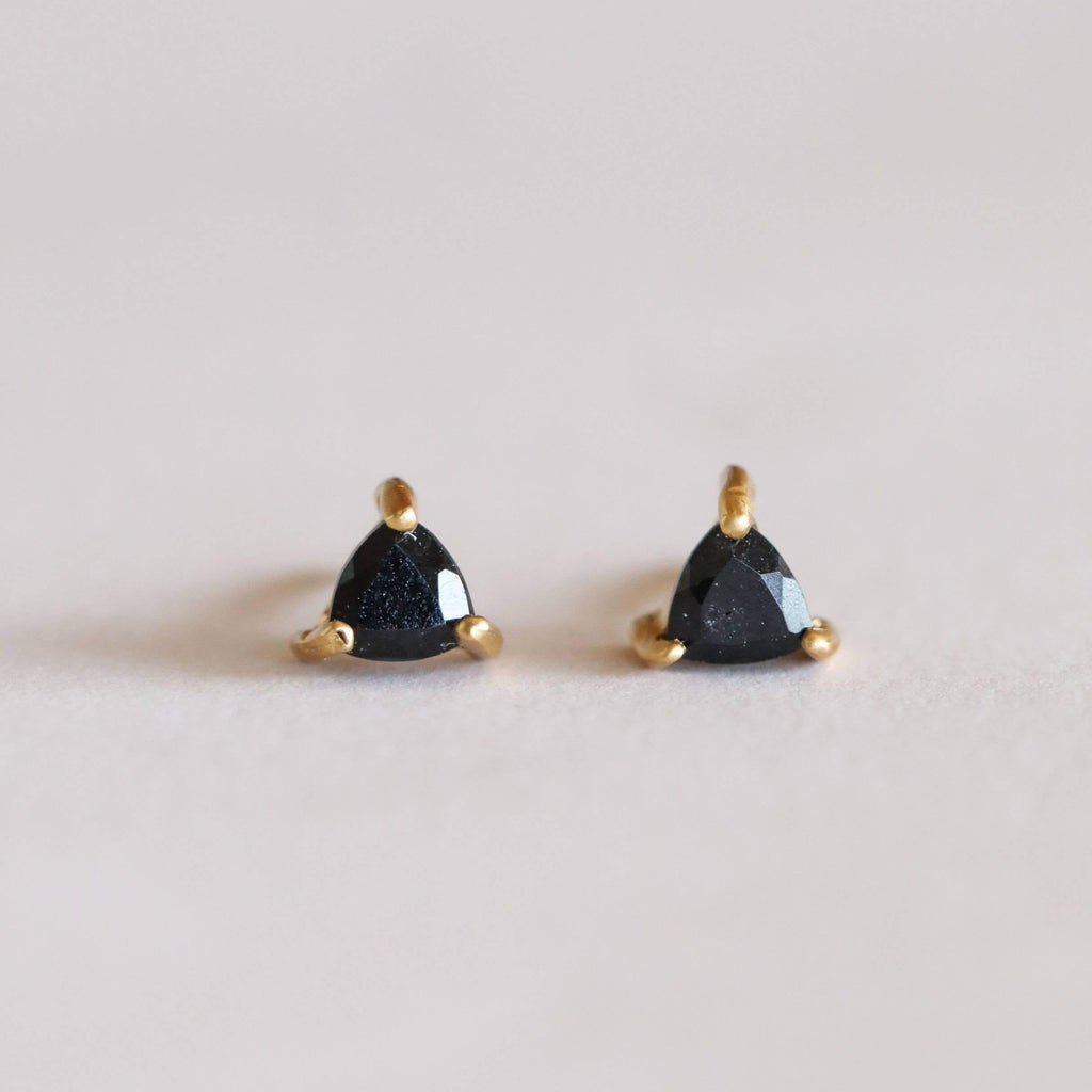 BLACK TOURMALINE MINI ENERGY GEM STUD EARRINGS