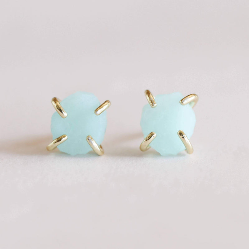 AMAZONITE PRONG STUDS GOLD