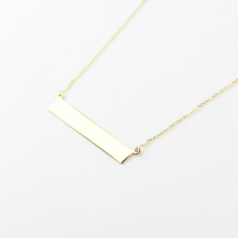 GOLD BAR NAMEPLATE NECKLACE - 14K