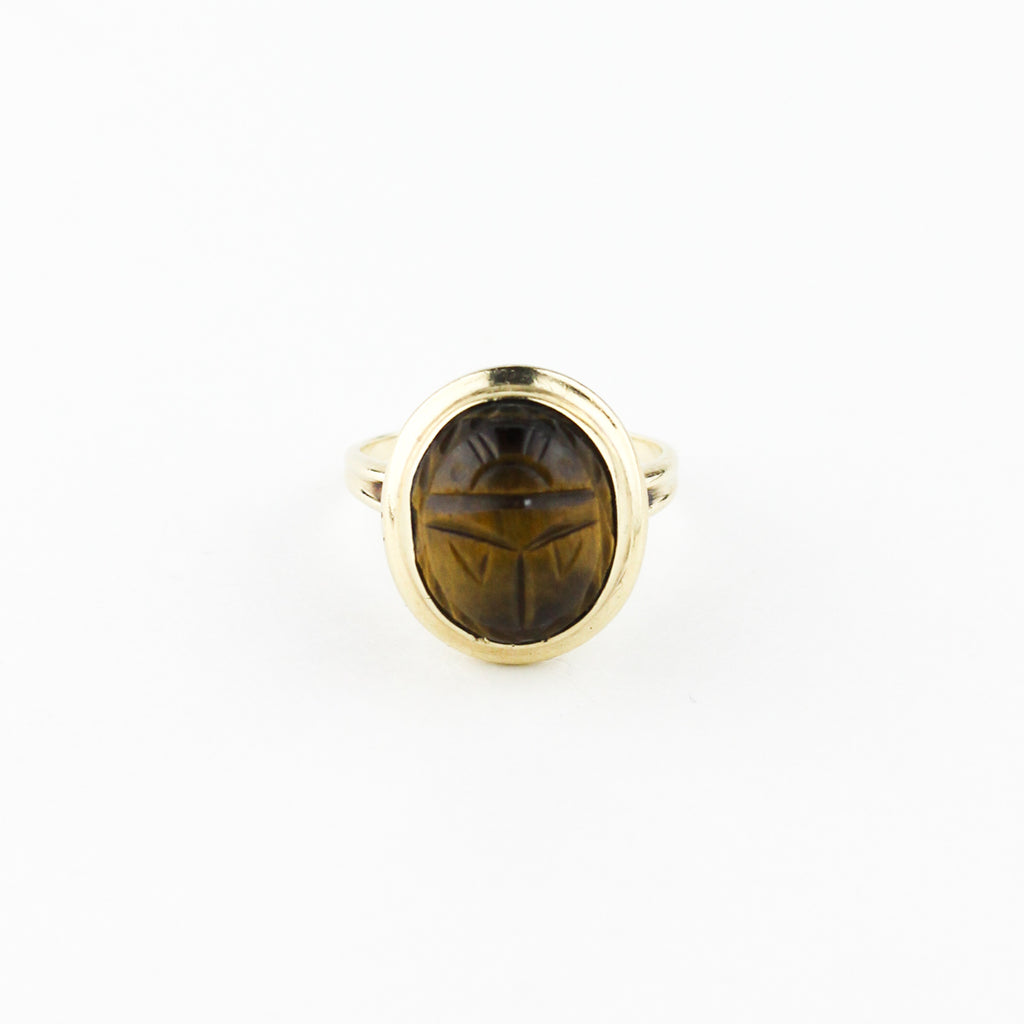TIGER EYE SCARAB RING
