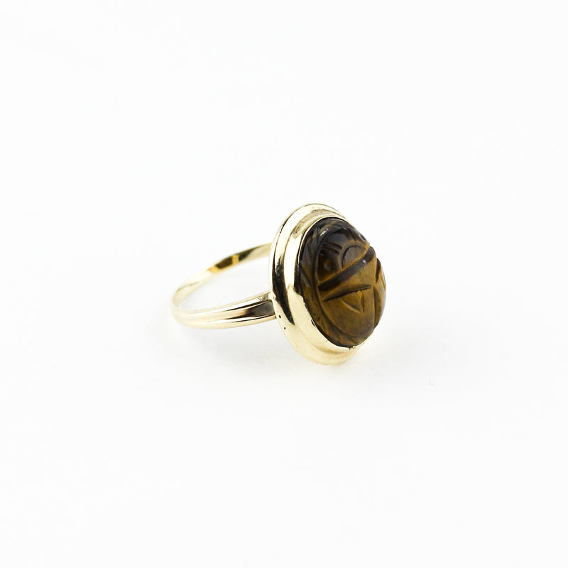 '40s TIGER EYE SCARAB RING