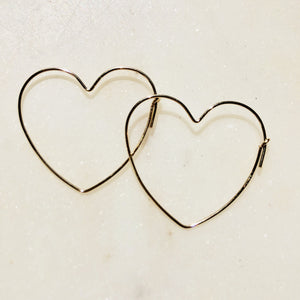 LARGE GOLD HEART HOOPS