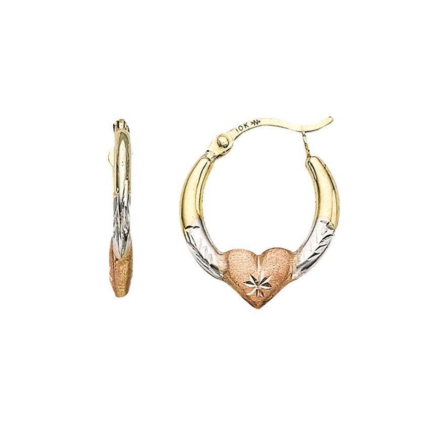 TRI-COLORED HEART HOOPS | 10K