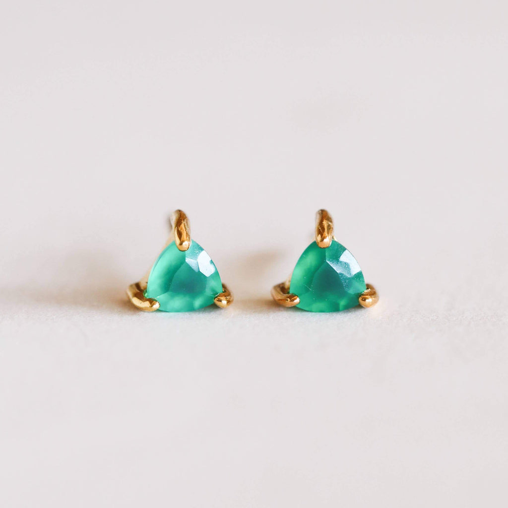 GREEN ONYX MINI ENERGY GEM STUD EARRINGS