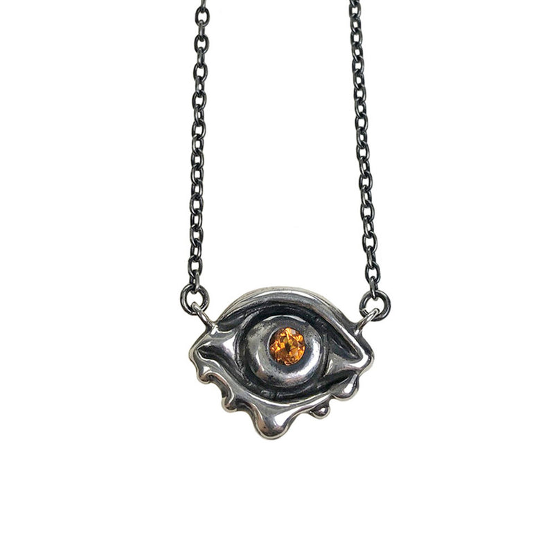 CITRINE EVIL EYE TALISMAN NECKLACE