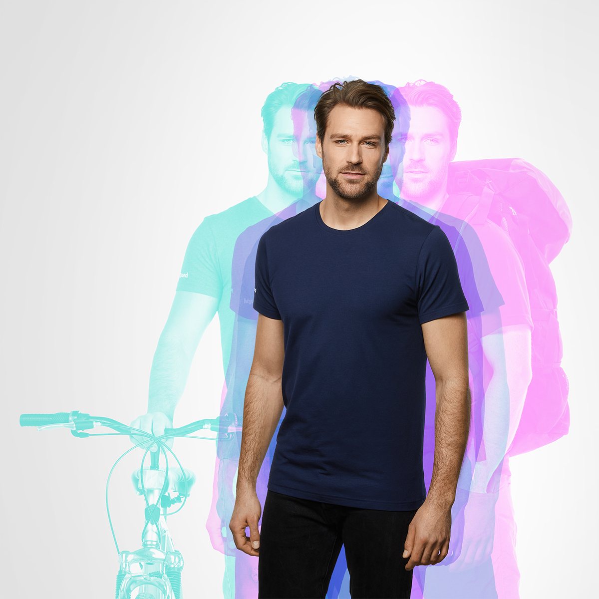 Image of a man wearing a dark blue t-shirt from Livinguard. Shadows of the same person in the background, representing daily activities as cycling and backpacking