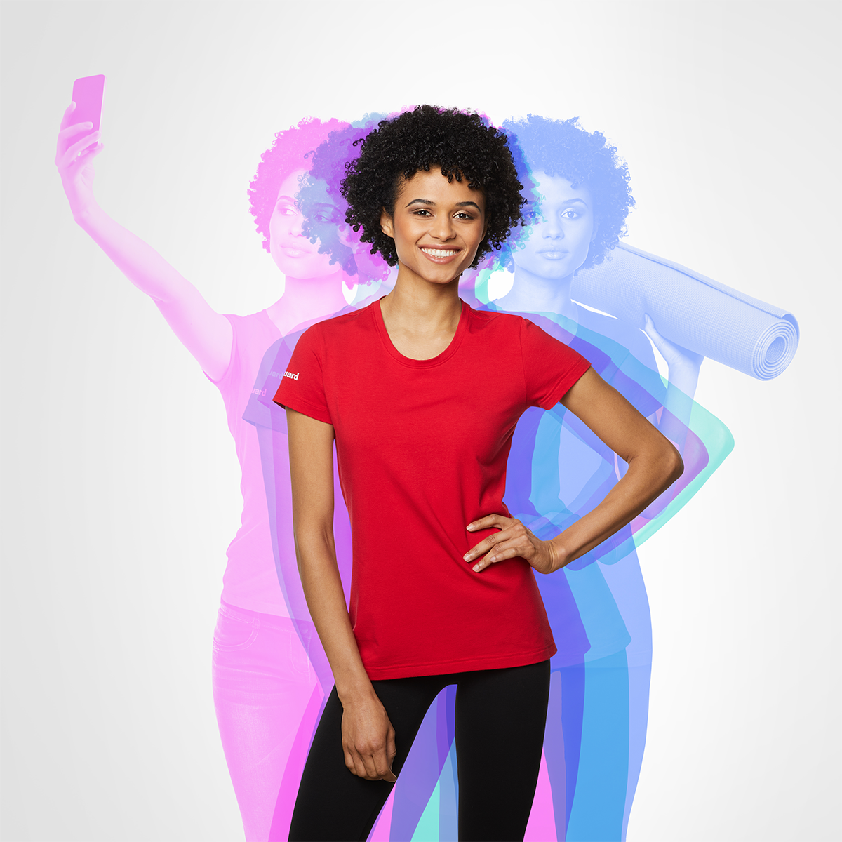 woman wearing a red livinguard t-shirt. Shadows of her in the background symbolize daily activities like making a selfie and carrying an yoga mat
