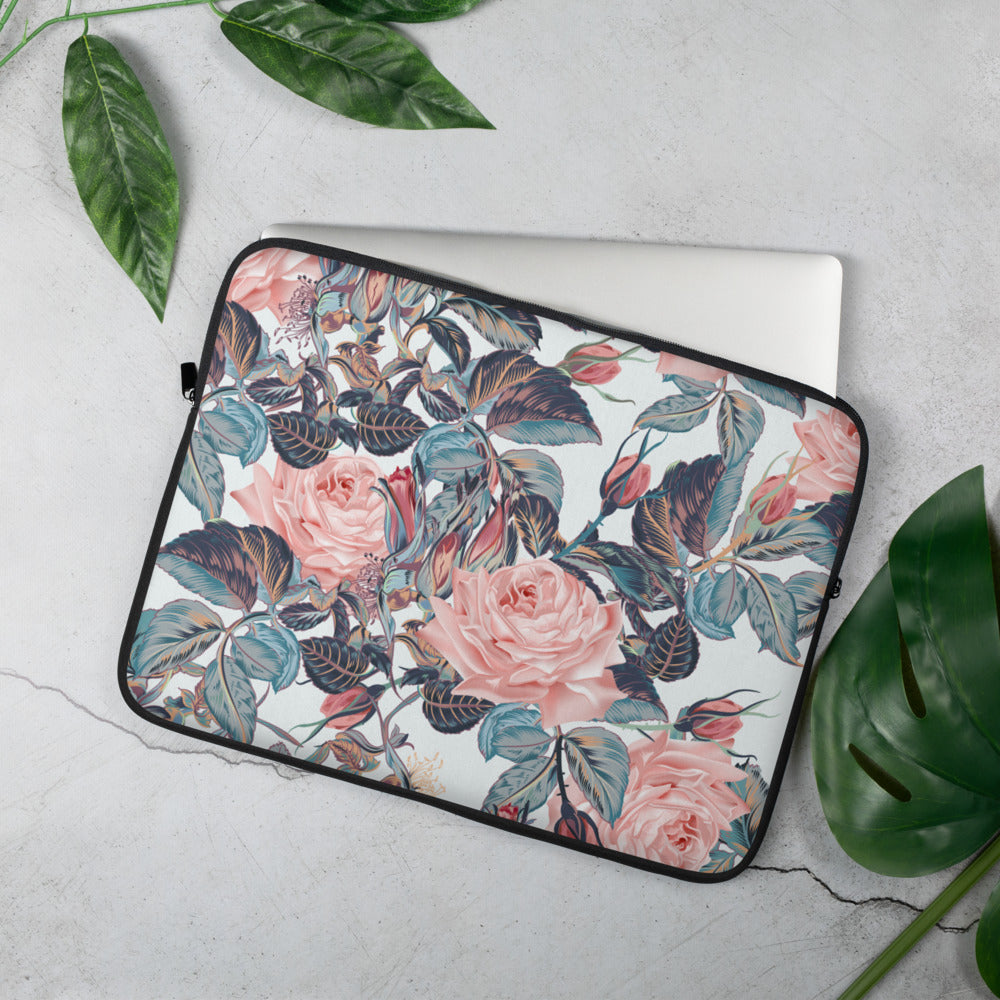 Pink and Blue Floral Laptop Sleeve