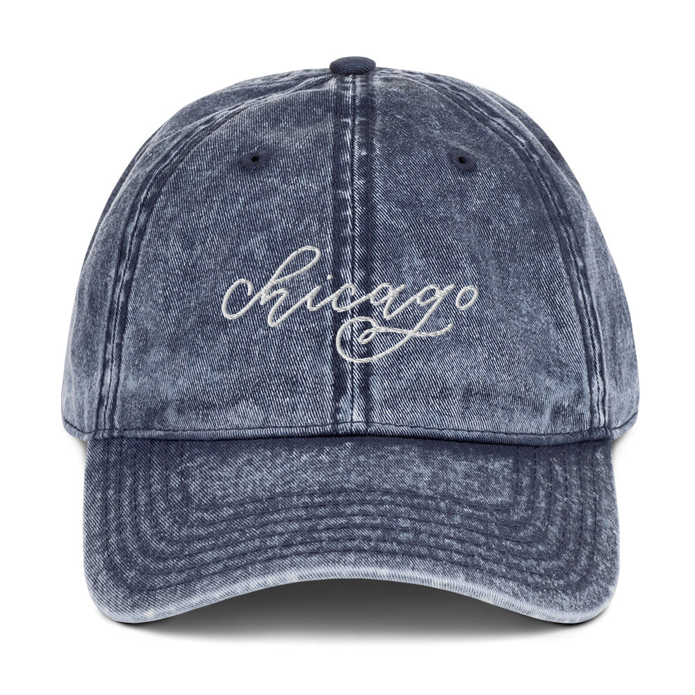 Distressed Chicago Embroidered Hat