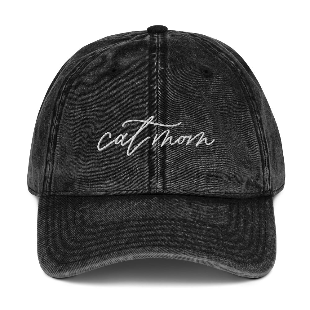 Distressed Cat Mom Baseball Hat
