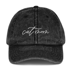 Open image in slideshow, Distressed Cat Mom Baseball Hat