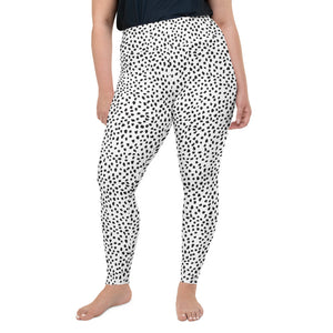 Open image in slideshow, White Spotted All-Over Print Plus Size Leggings