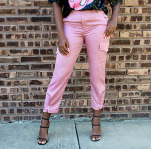 Pretty in Pink Satin Cargo Pants