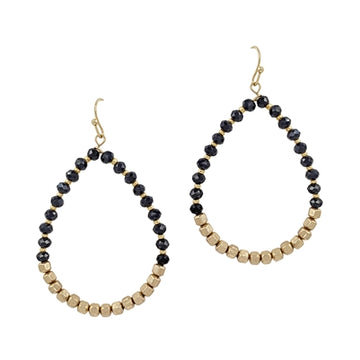 """Crystal and Gold Teardrop 2"""" Earring"""