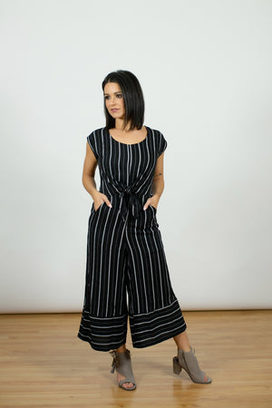 Nautical Front Tie Jumpsuit