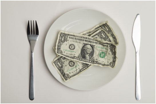 Plate with money