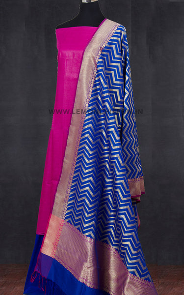 Pink and Blue Banaras Silk Suit