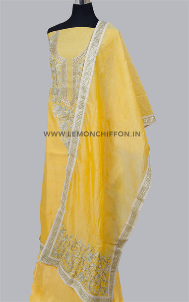 Yellow Cotton Silk Embroidered Salwar Suit