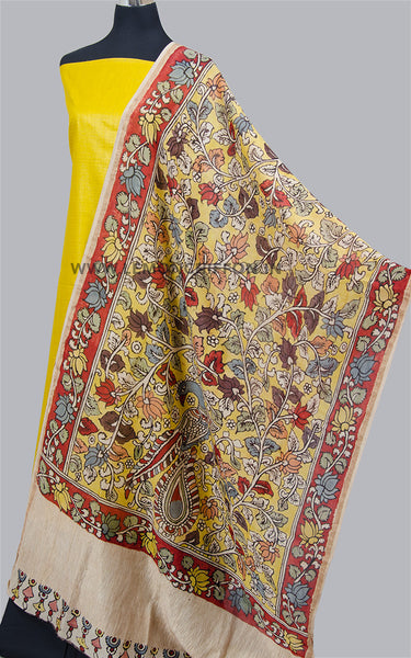 Yellow Hand Painted Kalamkari Dupatta Suit