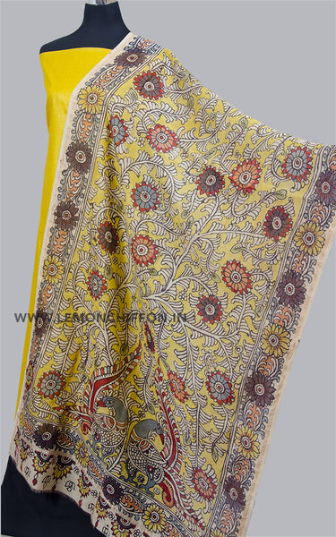 Yellow Hand Painted Kalamkari Dupatta Suit Set
