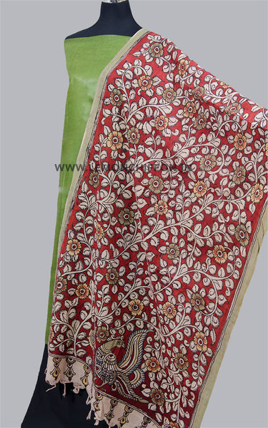 Red Hand Painted Kalamkari Dupatta Suit Set