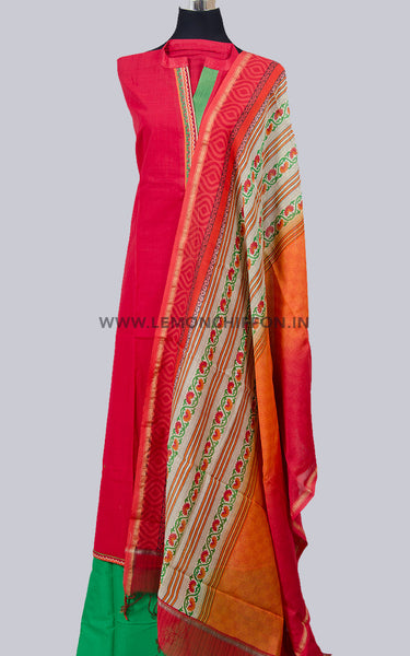 Red and Green Cotton Salwar Suit