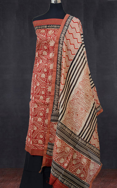 Block Printed Chanderi Cotton Silk Suit