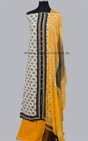 Yellow and Black Block Printed Cotton Salwar Suit